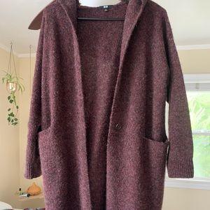 Uniqlo Burgundy 100% Wool Cardigan